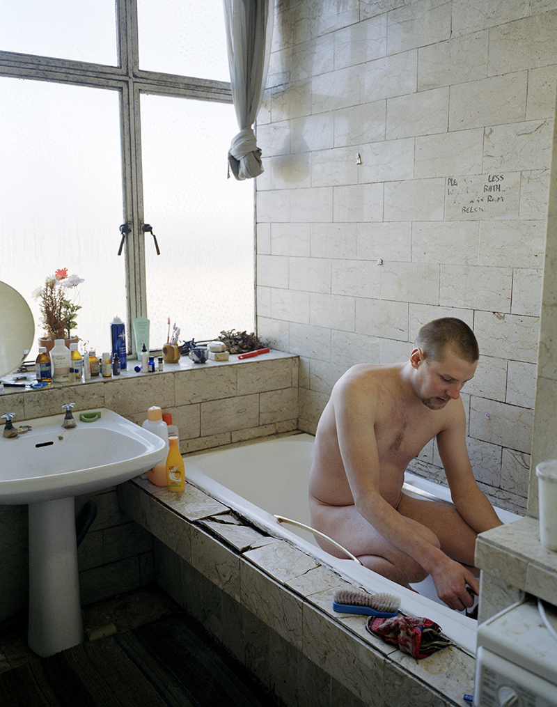 Pekka, morning wash, London, 2003